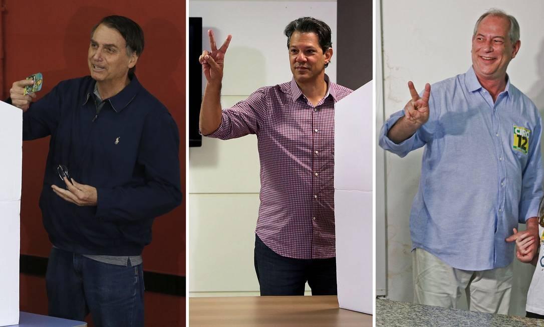 Jair Bolsonaro, Fernando Haddad e Ciro Gomes Foto: Pablo Jacob, REUTERS e AFP