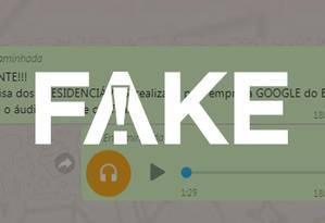 Mensagem e áudio que circulam nas redes sociais são falsos Foto: Reprodução