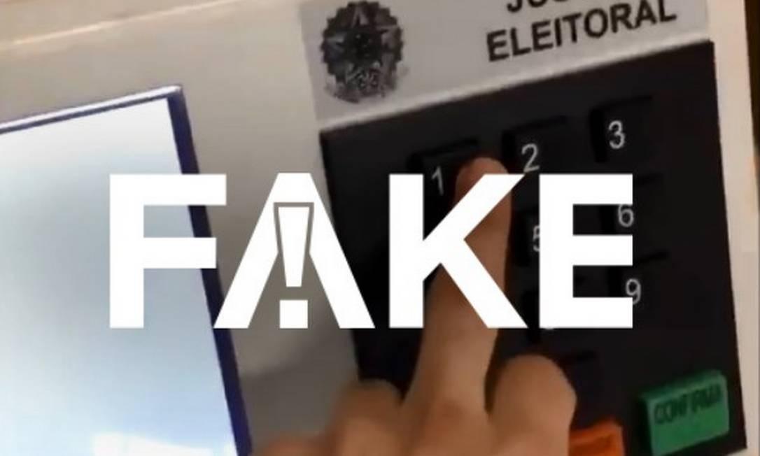 É #FAKE vídeo em que eleitor digita 1 e a aparece nome de Haddad Foto: Reprodução