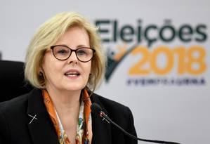 A presidente do TSE, ministra Rosa Weber, durante entrevista Foto: EVARISTO SA / AFP