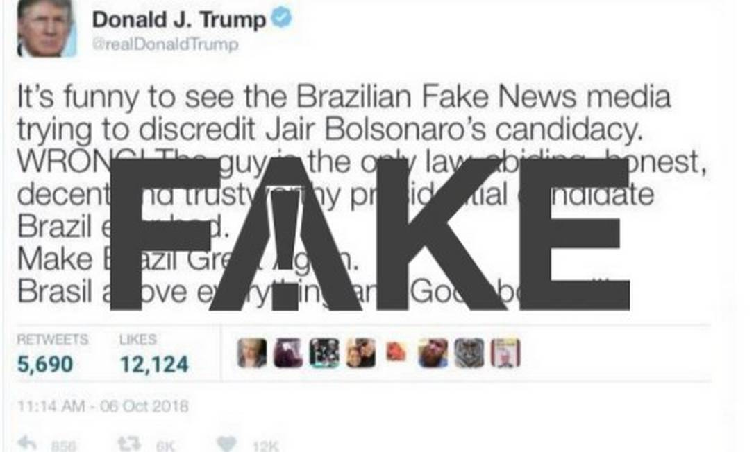 Falsa mensagem de Trump no Twitter Foto: Reprodução