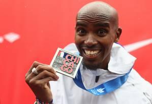 Mo Farah venceu a Maratona de Chicago neste domingo Foto: MICHAEL STEELE / AFP