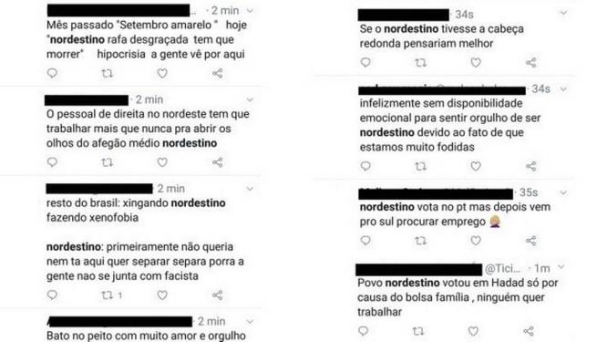 Montagem com ataques aos nordestinos nas redes sociais Foto: Reprodução