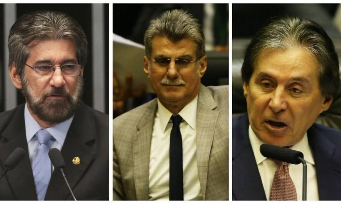 Valdir Raupp (MDB-RO), Romero Jucá (MDB-RR) e Eunício Oliveira (MDB-CE) não conseguiram se reeleger Foto: Agência O Globo