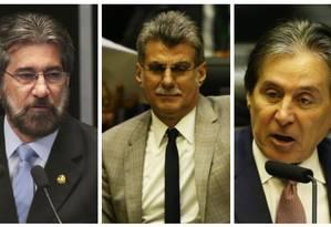 Valdir Raupp (MDB-RO), Romero Jucá (MDB-RR) e Eunício Oliveira (MDB-CE) não conseguiram a reeleição Foto: Agência O Globo