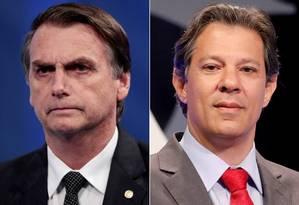 Bolsonaro e Haddad irão para o segundo turno Foto: Reuters Photographer / REUTERS