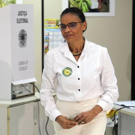 Marina Silva vota em Rio Branco, no Acre Foto: LEO CABRAL / AFP