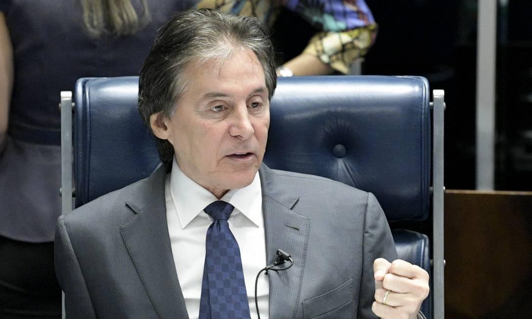 O presidente do Senado, Eunício Oliveira (MDB-CE), durante sessão Foto: Pedro França/Agência Senado
