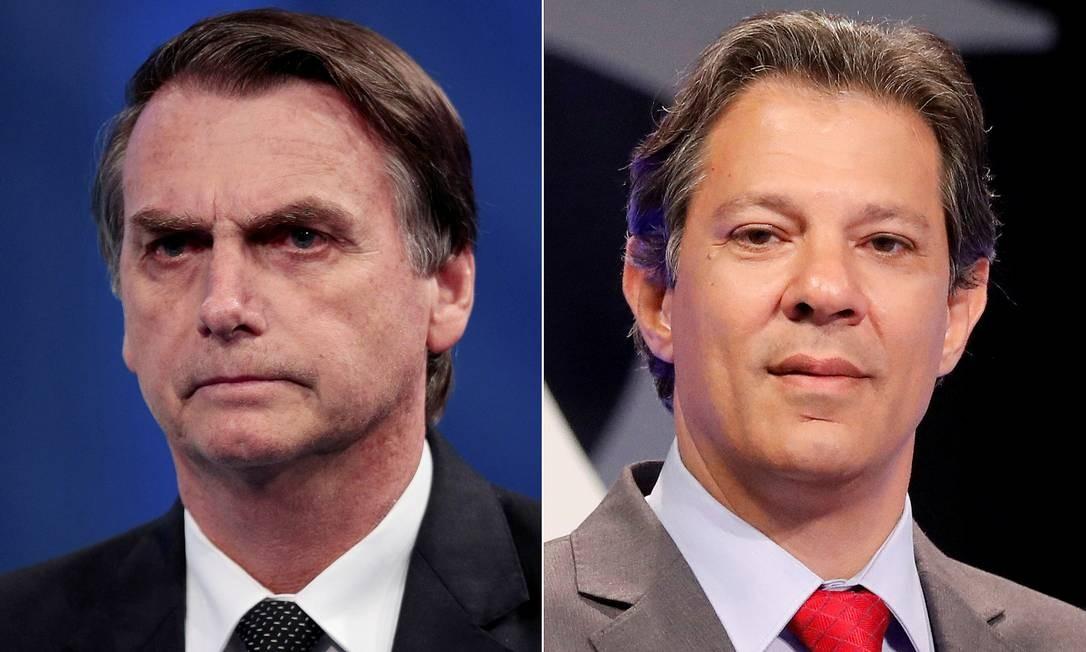 Jair Bolsonaro e Fernando Haddad vão disputar o segundo turno Foto: Paulo Whitaker/Nacho Doce/File Photos / REUTERS