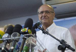 Geraldo Alckmin, durante discurso no diretório do PSDB após resultado das eleições Foto: Edilson Dantas / Agência O Globo