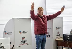 Munõz após votar: vitória sobre extrema direita Foto: HANDOUT / REUTERS