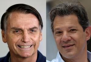Jair Bolsonaro (PSL) e Fernando Haddad (PT) farão segundo turno para Presidência Foto: Ricardo Moraes/Washington Alves / REUTERS