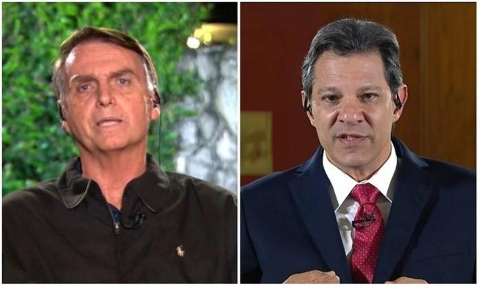 Bolsonaro e Haddad foram entrevistados pelo Jornal Nacional Foto: Reprodução