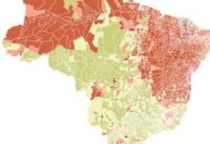Mapa do desempenho dos candidatos nos municípios Foto: Editoria de Arte