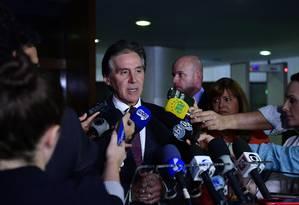 O presidente do Senado, Eunício Oliveira (MDB-CE), durante entrevista Foto: Marcos Brandão/Senado Federal/18-09-2018