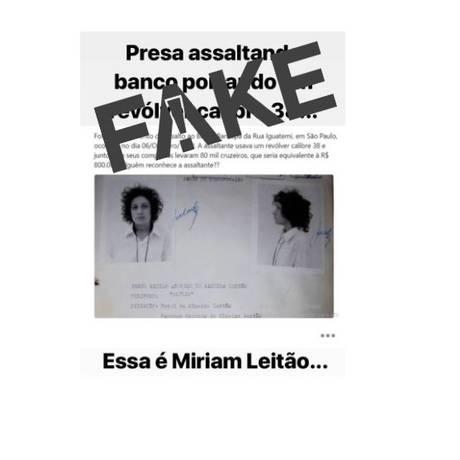 Mensagem sobre a jornalista é falsa Foto: Reprodução
