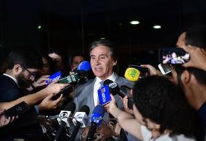 O presidente do Senado, Eunício Oliveira (MDB-CE) durante entrevista Foto: Marcos Brandão/Senado Federal