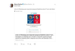 Mauro Paulino diz que suposta mensagem que fala de pesquisa online do Datafolha é falsa Foto: Foto: Reprodução/Twitter