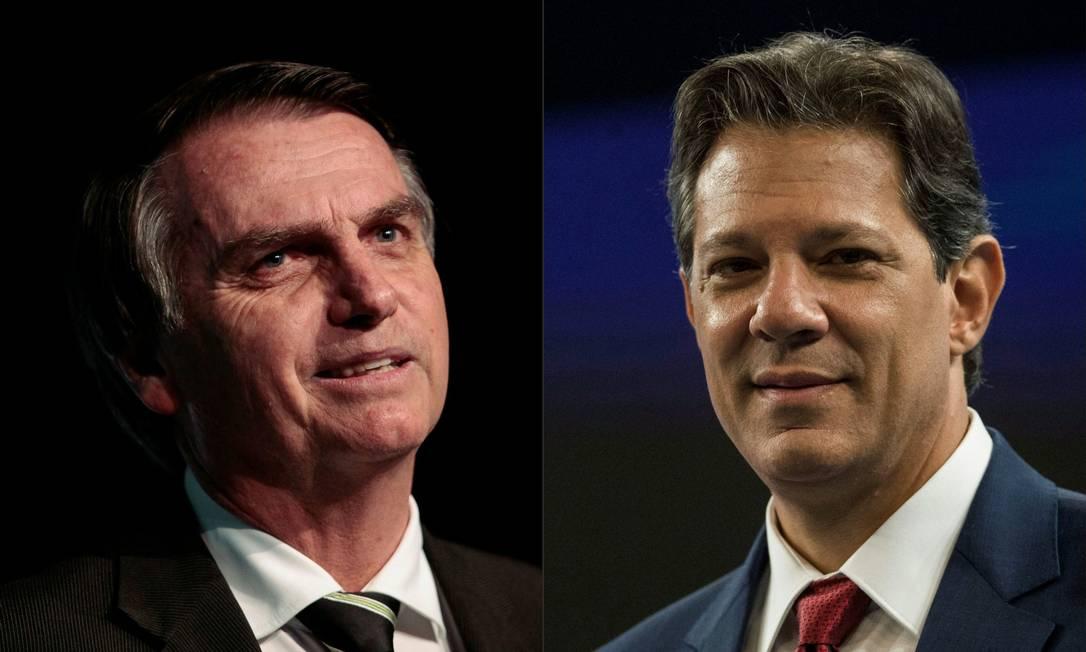 Jair Bolsonaro (PSL) e Fernando Haddad (PT) disputam segundo turno para Presidência Foto: Miguel SCHINCARIOL e Daniel Ramalho / AFP