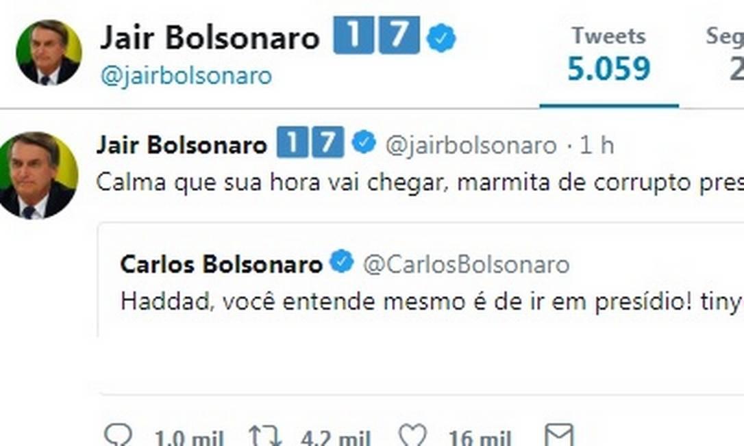 Bolsonaro chama Haddad de 'marmita de corrupto preso' em rede social Foto: Reprodução