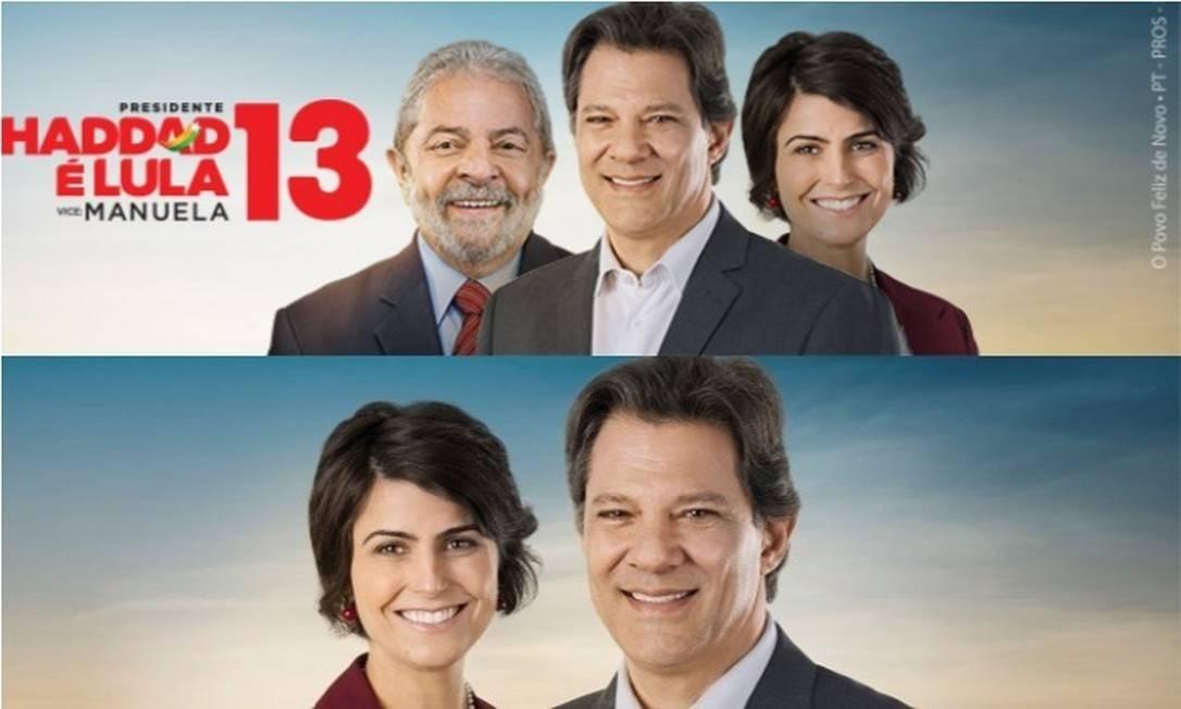 Lula foi retirado do material de campanha de Haddad e Manuela Foto: Reprodução
