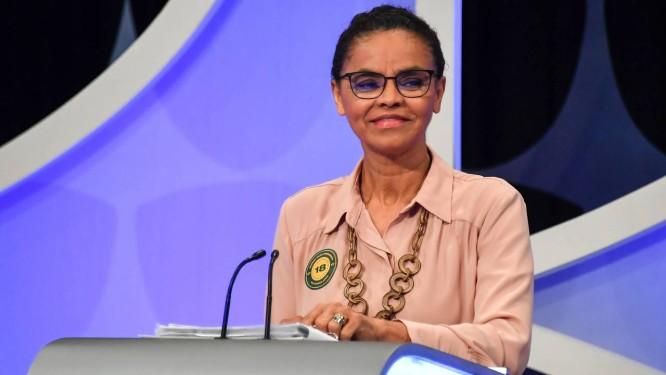 Candidata da Rede à Presidência, Marina Silva participa de debate na TV Foto: NELSON ALMEIDA / AFP