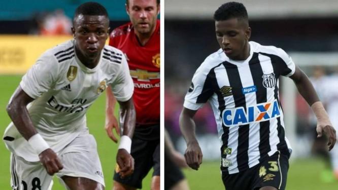 Vinícius Júnior e Rodrygo, reforços do Real Madrid Foto: Andrew Innerarity/Reuters e Ivan Storti/Santos