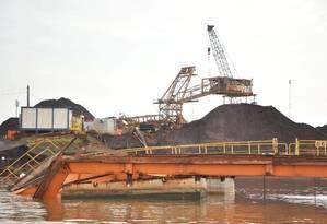 Vista da área do desmoronamento no Porto de Santana em 2013 Foto: Arquivo / Arquivo