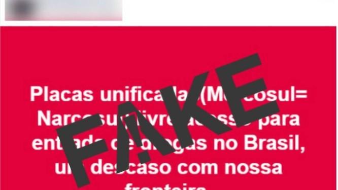 Mensagem sobre placas do Mercosul é falsa Foto: Reprodução