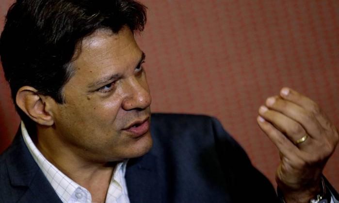 O candidato Fernando Haddad Foto: Jorge William / Agência O Globo