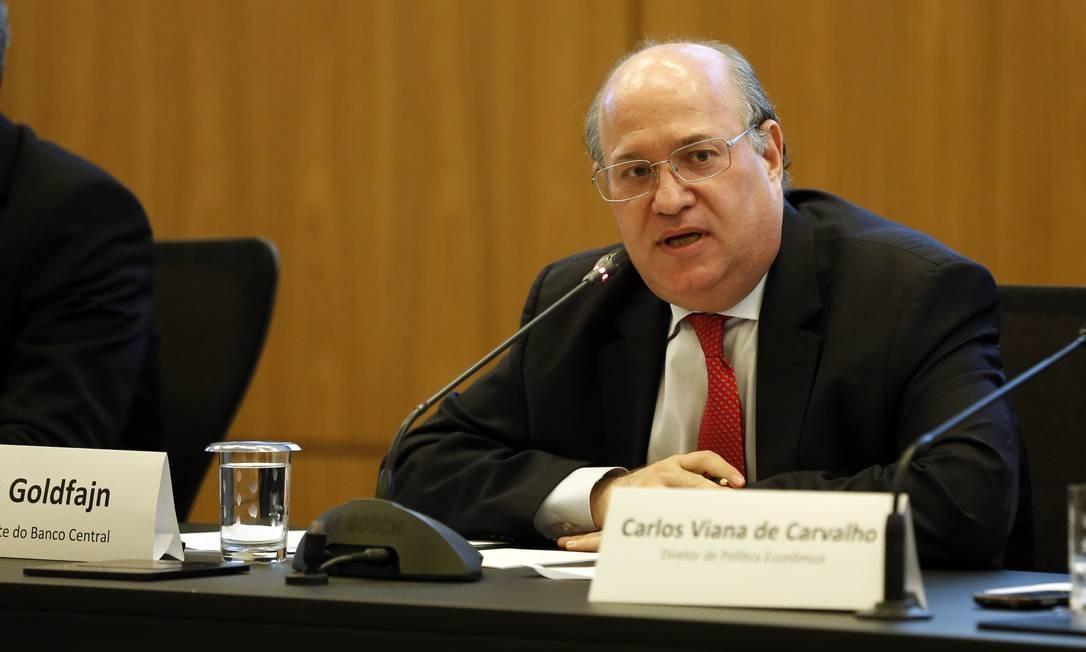 O presidente do Banco Central, Ilan Goldfajn durante apresentação do relatório de inflação Foto: Luciano Freire/BCB/27-09-2018