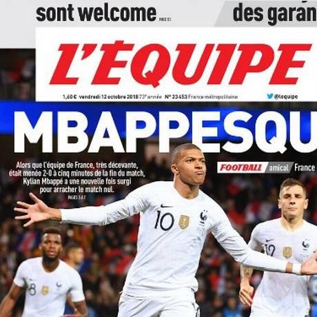 Mbappé na manchete do L'Équipe Foto: Reprodução