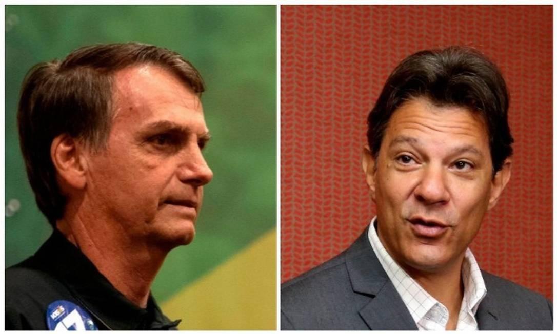 Os candidatos a presidente Jair Bolsonaro (PSL) e Fernando Haddad (PT) Foto: Arquivo O GLOBO