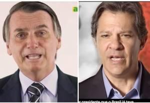 Imagens do programa de TV de Bolsonaro e Haddad Foto: Reprodução