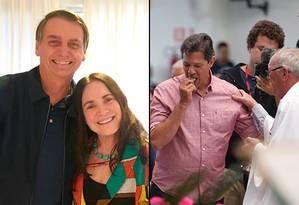 O dia dos candidatos: Bolsonaro recebe Regina Duarte, e Haddad comunga Foto: Editoria de Arte