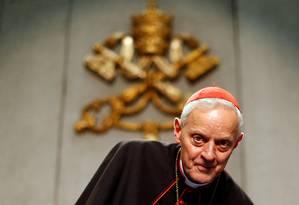 O cardeal americano Donald Wuerl enquanto arcebispo de Washington em entrevista coletiva em outubro de 2012 Foto: ALESSANDRO BIANCHI / REUTERS