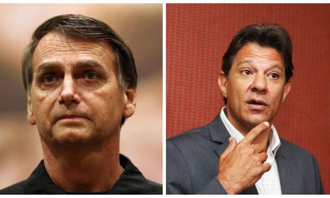 Jair Bolsonaro (PSL) e Fernando Haddad (PT) foram questionados sobre o tema planos de saúde Foto: Ricardo Moraes/Givaldo Barbosa / Reuters/Agência O Globo