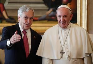 O Papa Francisco recebeu o presidente do Chile, Sebástian Piñera, neste sábado Foto: ALESSANDRO BIANCHI / AFP
