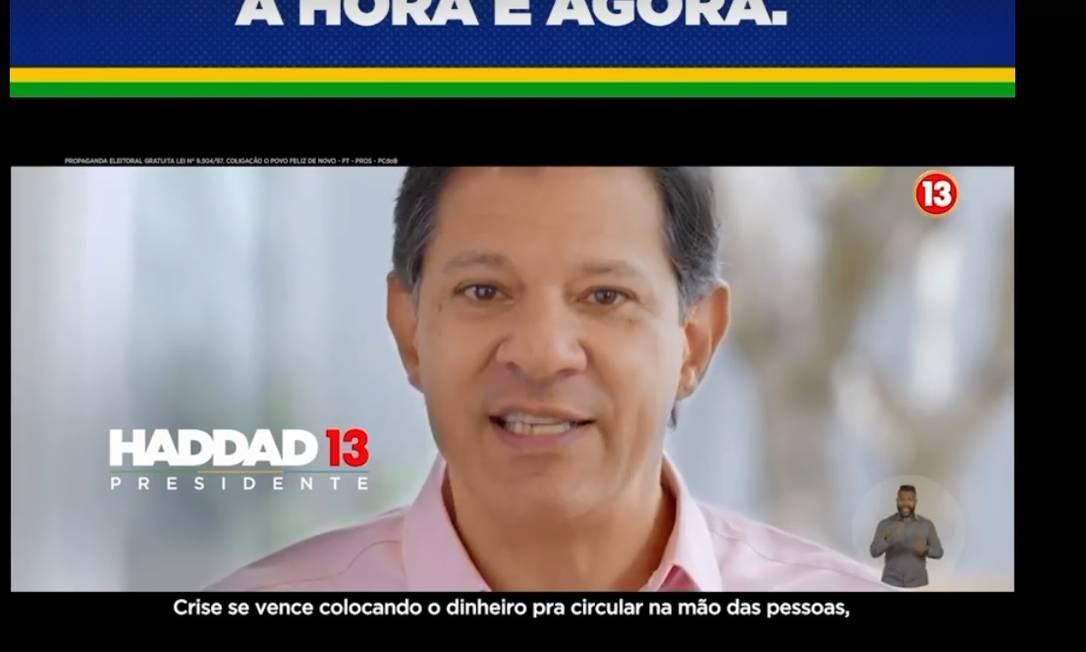 Na TV, Haddad comparou Bolsonaro a Temer Foto: Reprodução