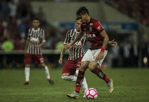 Lucas Paquetá teve uma boa atuação contra o Fluminense Foto: Guito Moreto / O Globo