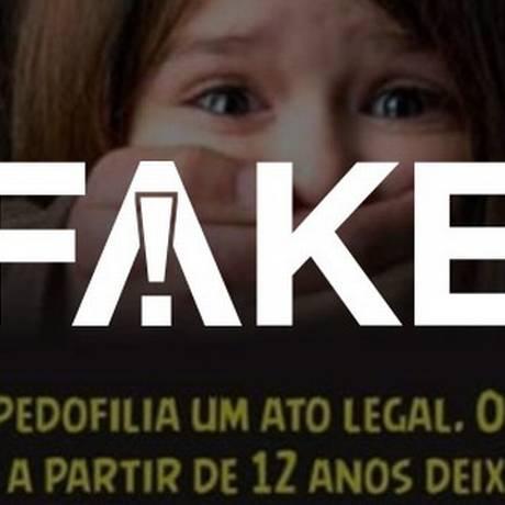 Postagem falsa que relaciona a candidatura de Haddad a projeto de legalização da pedofilia Foto: Reprodução