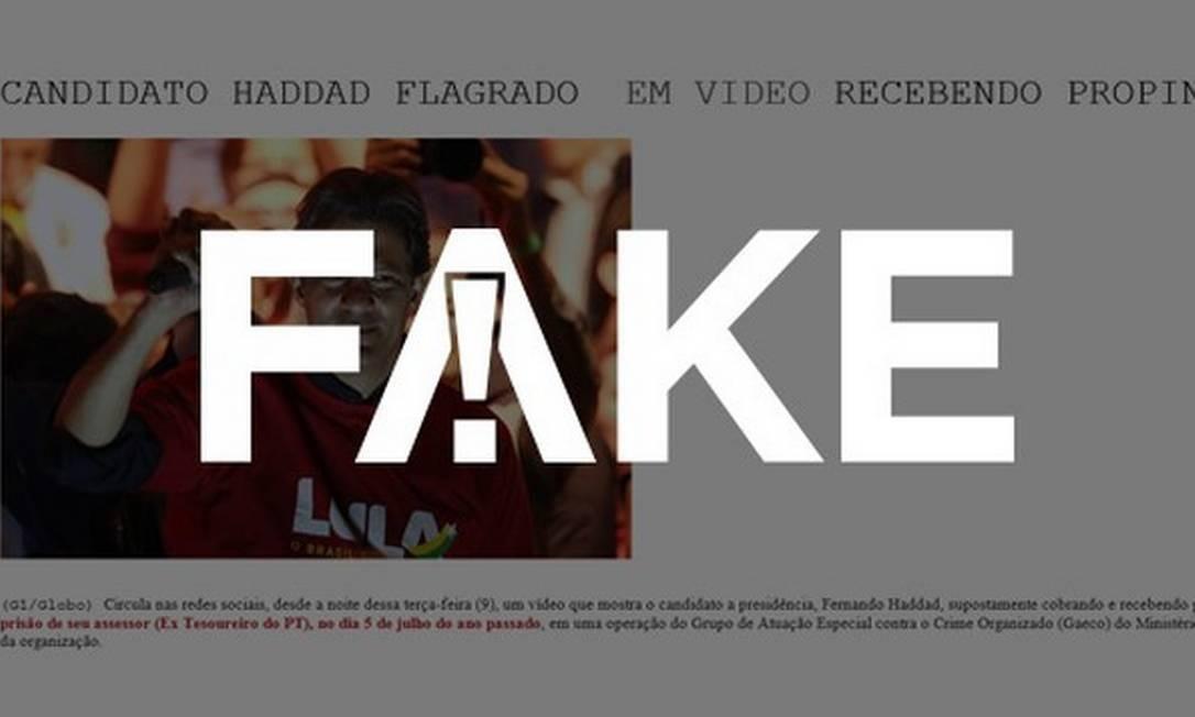 E-mail que diz que Fernando Haddad foi gravado recebendo propina em restaurante é falso Foto: Reprodução