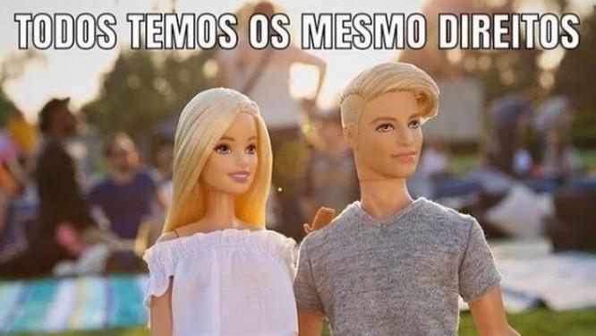 Meme critica pensamentos preconceituosos com imagem da Barbie Foto: Reprodução/Redes Sociais