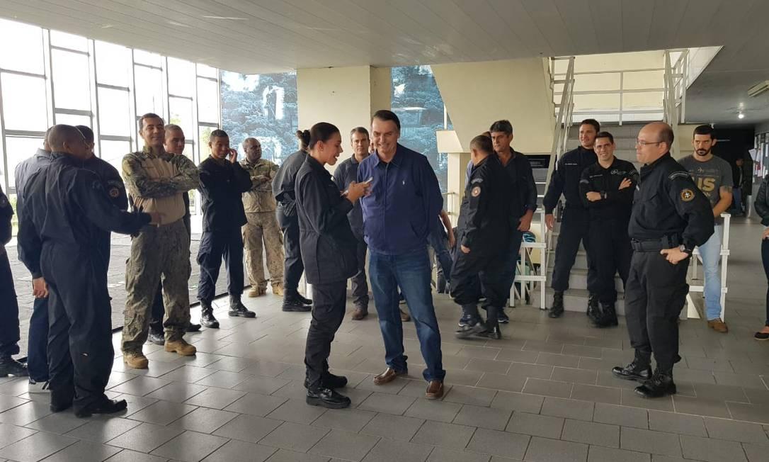 Jair Bolsonaro (PSL) visita sede do Bope, na Zona Sul do Rio Foto: Divulgação