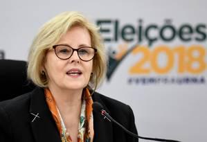 A presidente do TSE, ministra Rosa Weber, durante entrevista coletiva Foto: Evaristo Sá/AFP/07-10-2018