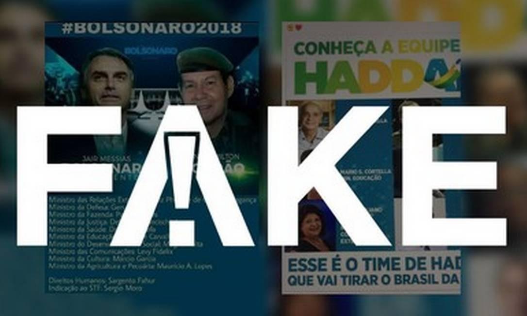 Prints com futuras equipes ministeriais de Haddad e Bolsonaro circula nas redes Foto: Reprodução