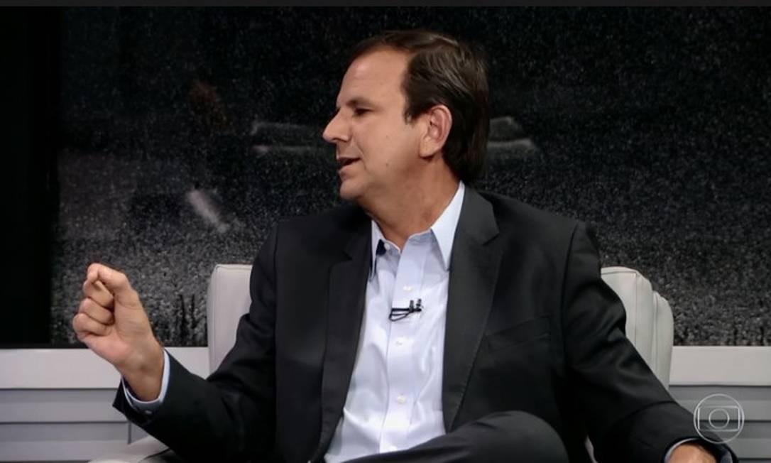O candidato do DEM a governador do Rio, Eduardo Paes, no RJTV Foto: Reprodução