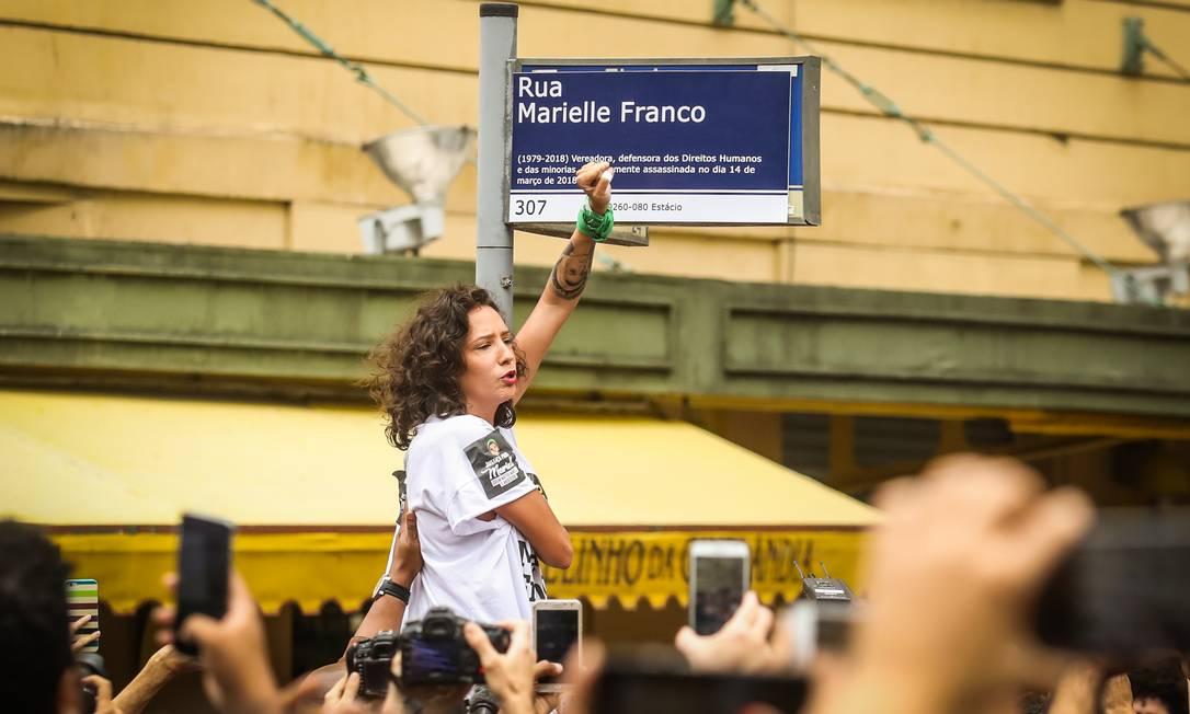 A viúva da vereadora Marielle Franco, Mônica Benício Foto: Bárbara Lopes / Agência O Globo