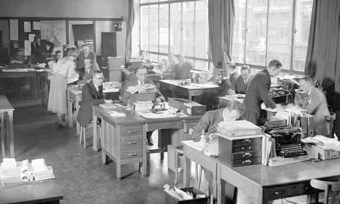 Redação de jornal em 1935 Foto: London Express / Getty Images