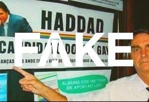 Imagem que circula em redes sociais atribui a Haddad a criação de um 'kit gay' Foto: Reprodução